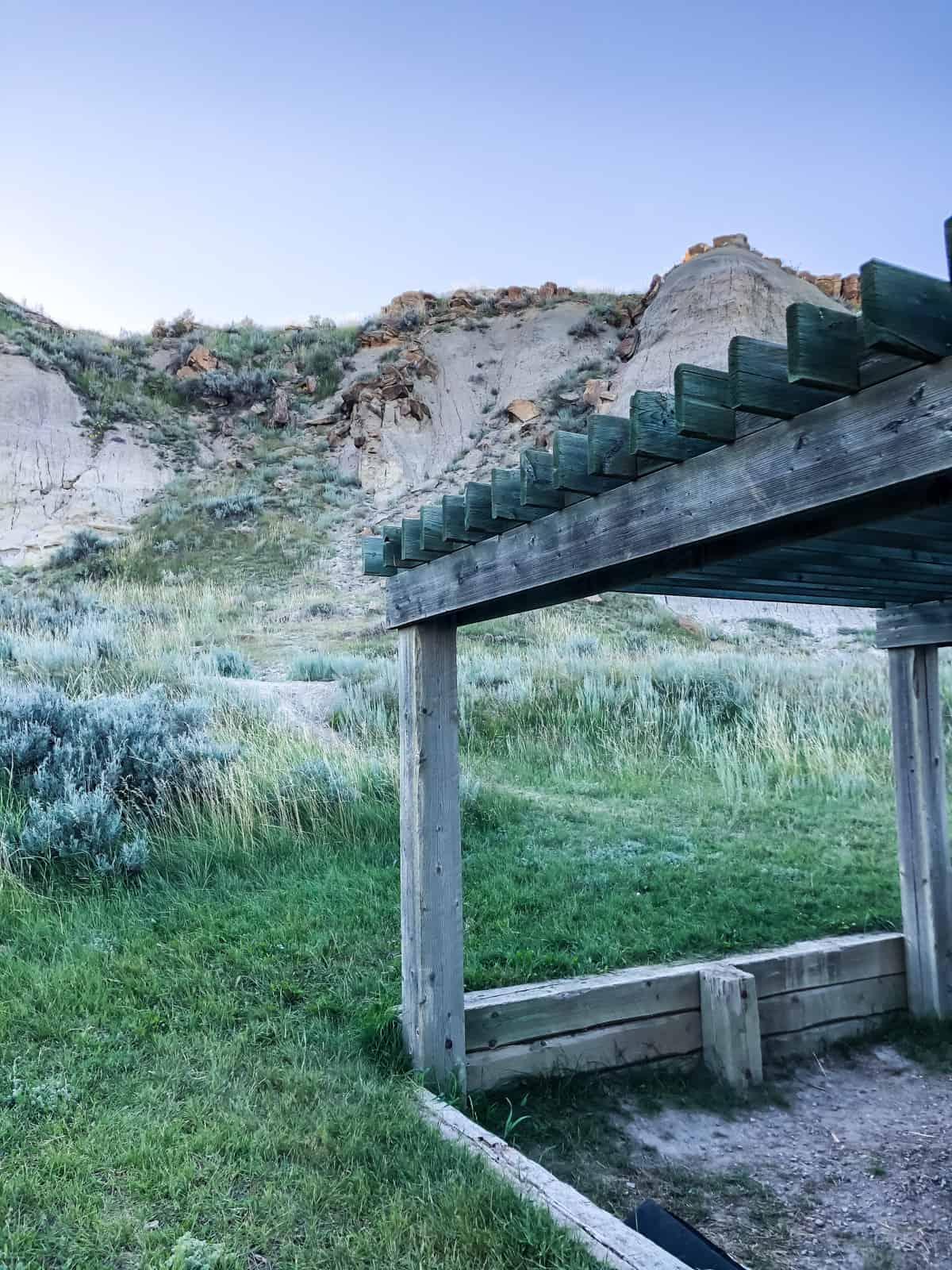 A pergola camping structure