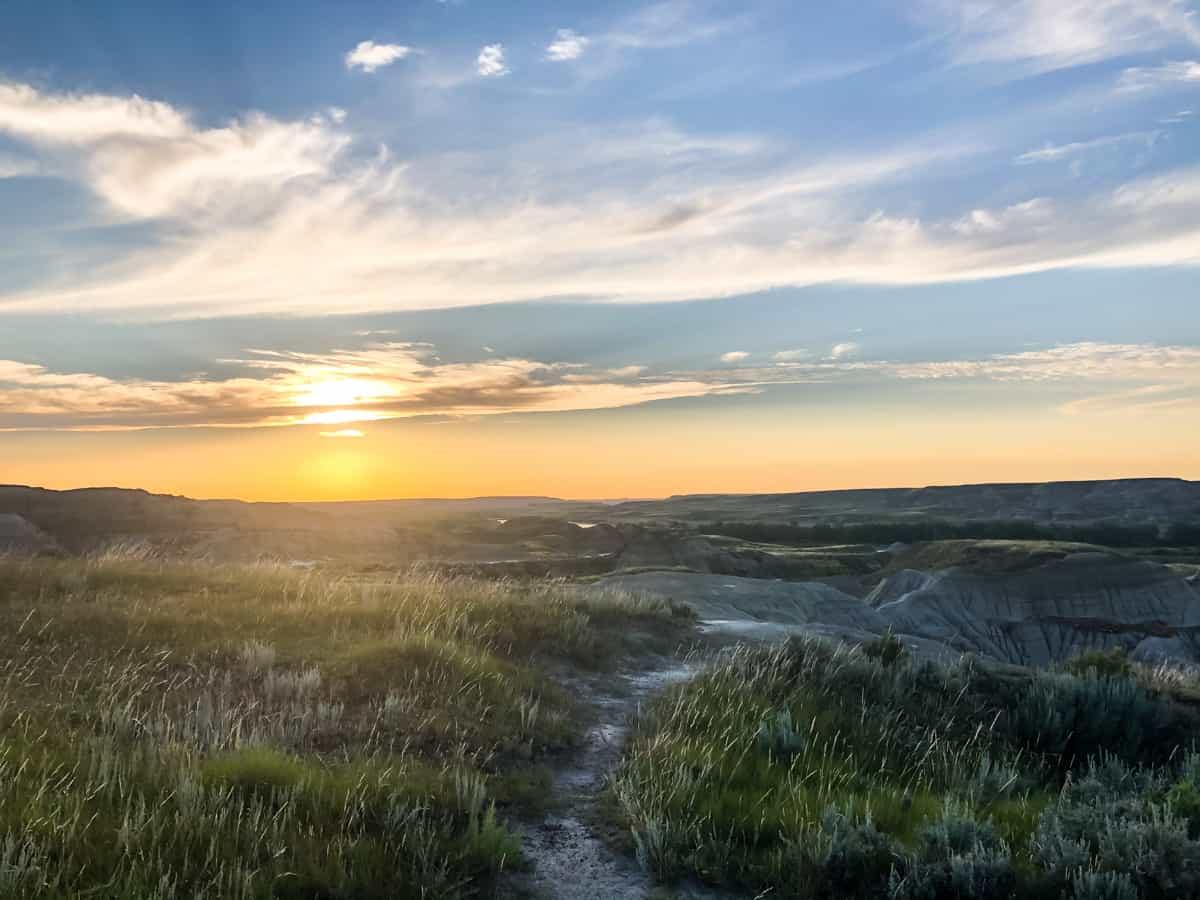 Sunset on hoodoo filled prairies